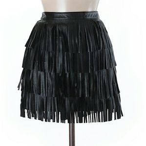 ZARA Vegan Faux Leather Fringe Skirt Mini